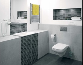 E100 Square- wall hung toilet and semi-recessed washbasin