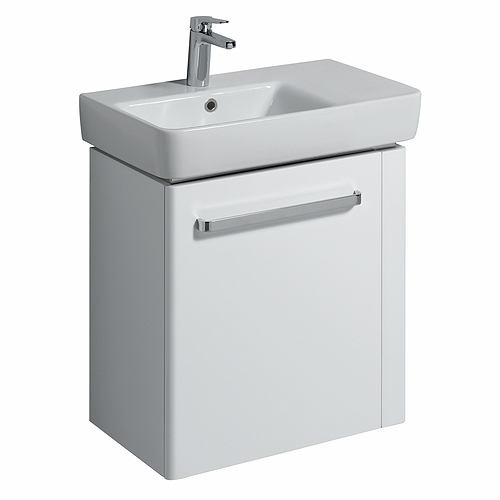 E200 Vanity Unit For Washbasin 650x370 RH Towel Rail - White