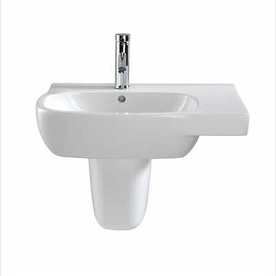 Moda Offset Washbasin, 650x460  Right Hand Shelf, 1 Tap, With Total Install System