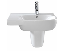 Moda Offset Washbasin,650x460 , Left Hand Shelf 1 Tap, With Total Install System