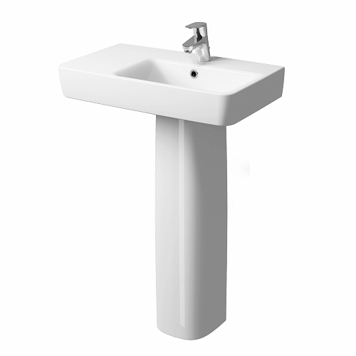 E200 Washbasin 650x370, 1 Tap, LH Shelf