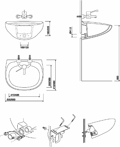 Sola Spectrum Washbasin 500x410 No Tap Back Outlet