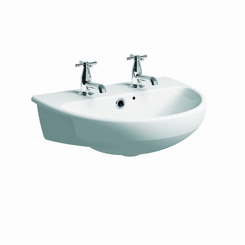 E100 Round Semi Recessed Basin 550x440 2 Tap Basins