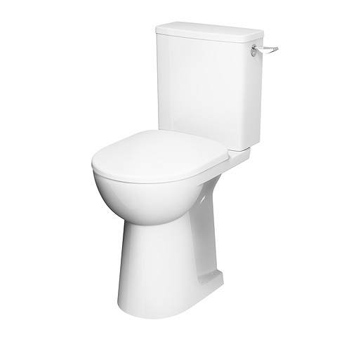 E100 Square Close Coupled Raised Height Toilet Pan Ho