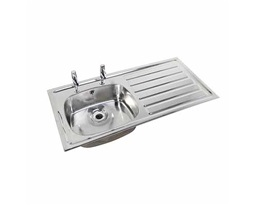 1028 Inset Sink, RH drainer, LH sink, 2 tap holes, With Overflow