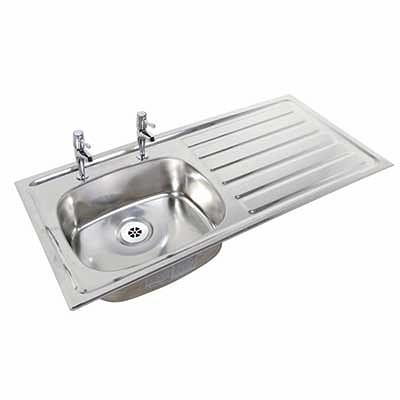 1028mm inset sink  rh drainer  lh sink  2 tap holes  no