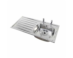 1028 Inset Sink,LH drainer, RH sink, 2 tap holes , With Overflow