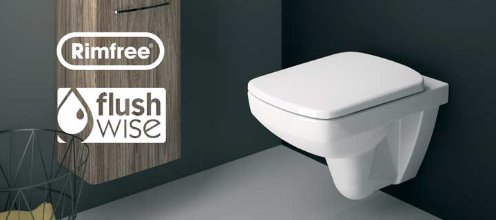 E100 Square Rimfree Flushwise toilet