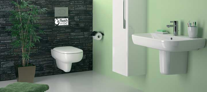 Twyford Energy e500 Rimfree Wall Hung toilet and washbain on semi-pedestal