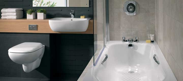 Twyfords Celtic low volume bath and Moda Flushwise wall hung toilet and Moda washbasin